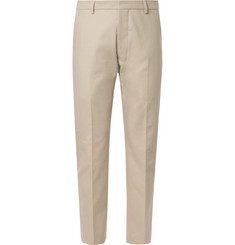 AMI Beige Cotton-Twill Suit Trousers