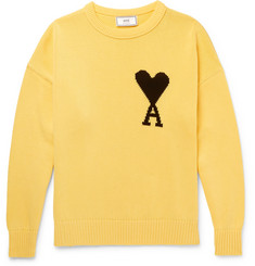 AMI Intarsia Cotton Sweater