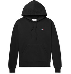 AMI Embroidered Loopback Cotton-Jersey Hoodie