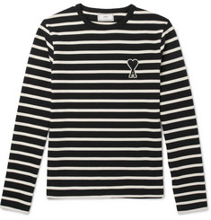 AMI Striped Cotton-Jersey T-Shirt