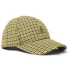 AMI Appliquéd Houndstooth Wool and Cotton-Blend Baseball Cap