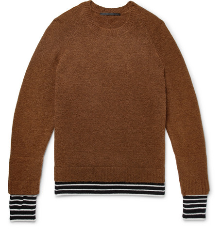Knitted Sweater Brown And Wool trimmed Ackermann Haider Cashmere qHctxIW7a