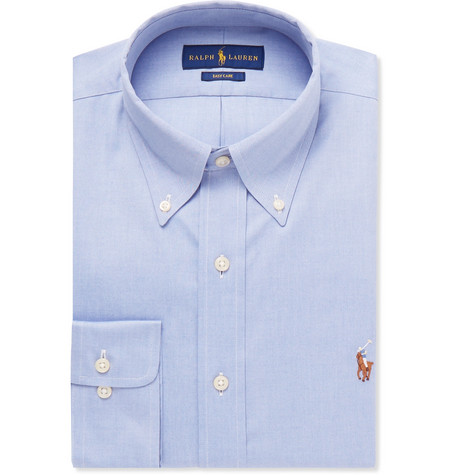 Light-blue Slim-fit Button-down Collar Cotton Shirt