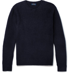 Polo Ralph Lauren Suede Elbow-Patch Wool and Cashmere-Blend Sweater