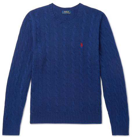 Polo Ralph Lauren Cable-Knit Merino Wool And Cashmere-Blend Sweater In Blue