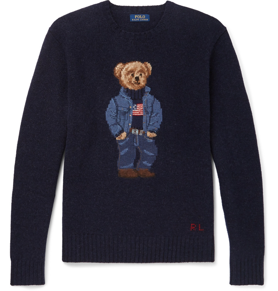 Billede af Bear-intarsia Wool Sweater - Navy