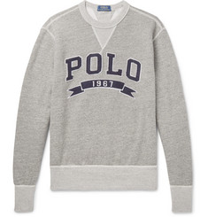 Polo Ralph Lauren Logo-Appliquéd Mélange Fleece-Back Cotton-Jersey Sweatshirt