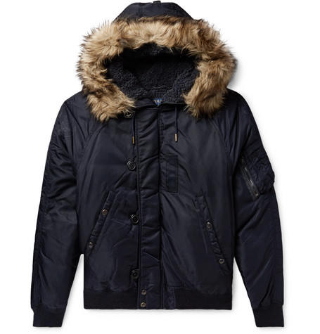 Faux Fur Trimmed Nylon Shell Down Bomber Jacket by Polo Ralph Lauren