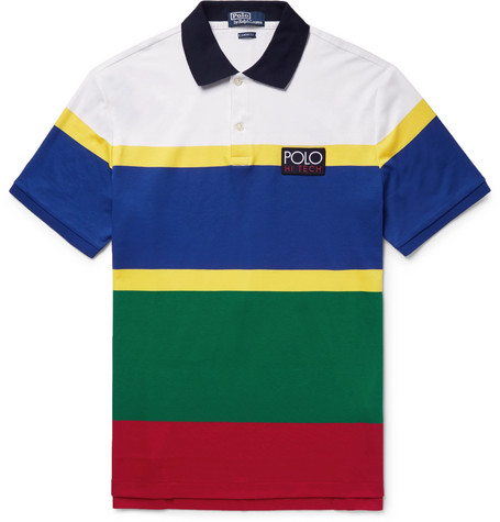 Hi Tech Striped Cotton Jersey Polo Shirt by Polo Ralph Lauren