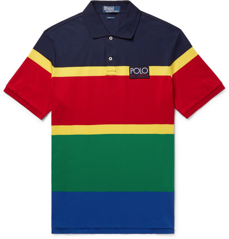 Hi Tech Appliquéd Striped Cotton Jersey Polo Shirt by Polo Ralph Lauren
