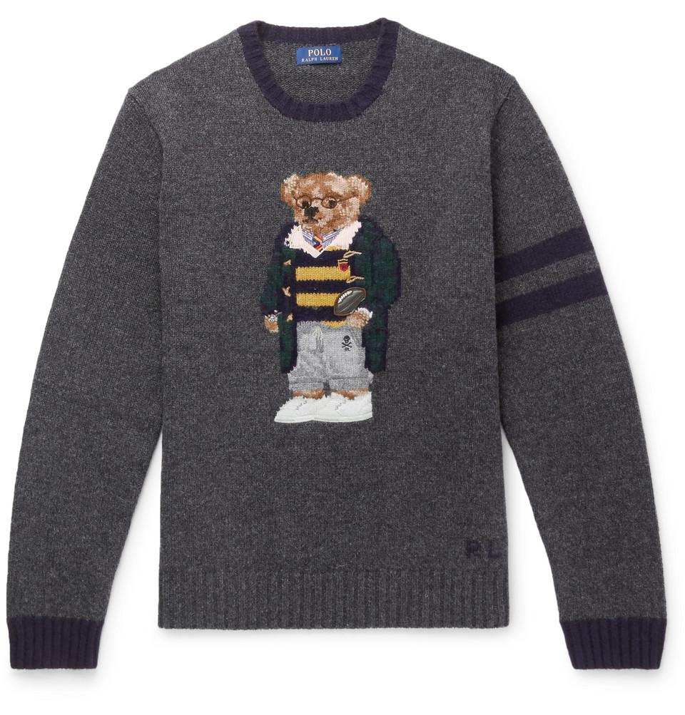 Billede af Bear-embroidered Wool Sweater - Gray