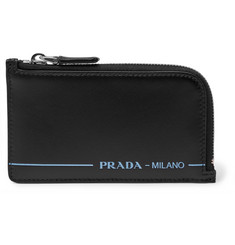 Prada Logo-Print Zip-Around Leather Cardholder
