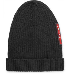Prada Logo-Appliquéd Ribbed Wool Beanie