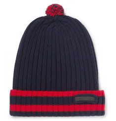 Prada Striped Ribbed Wool and Cashmere-Blend Beanie