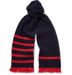 Prada Striped Ribbed Virgin Wool and Cashmere-Blend Scarf