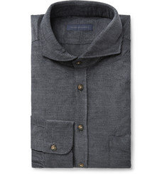 Thom Sweeney Anthracite Slim-Fit Cutaway-Collar Cotton-Corduroy Shirt