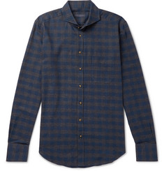 Thom Sweeney - Slim-Fit Cutaway-Collar Checked Cotton-Flannel Shirt