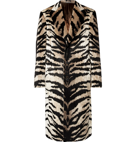 Slim-fit Tiger-jacquard Velvet Coat - Tan