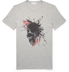 Alexander McQueen Slim-Fit Printed Mélange Cotton-Jersey T-Shirt