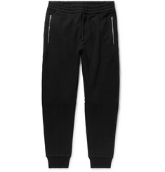Alexander McQueen Tapered Zip-Detailed Fleece-Back Cotton-Jersey Sweatpants