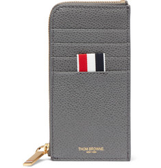 Thom Browne Two-Tone Pebble-Grain Leather Zip-Around Cardholder