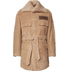 Fendi Belted Logo-Appliquéd Shearling Jacket