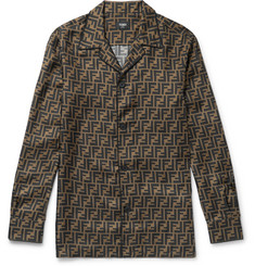 Fendi Camp-Collar Logo-Print Silk Shirt
