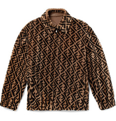 Fendi Reversible Logo-Print Shearling and Leather Bomber Jacket
