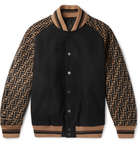 Melton Logo Jacquard Wool Blend Bomber Jacket by Fendi