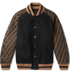 Fendi Melton Logo-Jacquard Wool-Blend Bomber Jacket