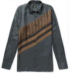 Fendi - Slim-Fit Logo-Print Silk-Twill Shirt