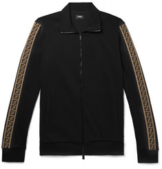 Fendi Slim-Fit Webbing-Trimmed Cotton-Blend Track Jacket