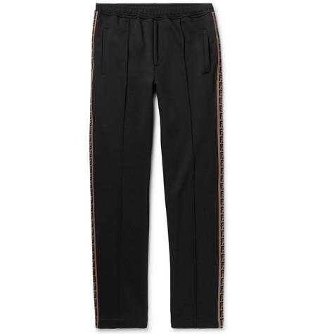 Slim-fit Webbing-trimmed Cotton-blend Sweatpants