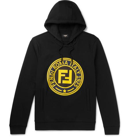 FENDI Logo-Print Cotton-Blend Jersey Hoodie