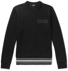 Fendi Logo-Appliquéd Striped Cotton-Blend Jersey Sweatshirt