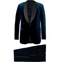 Polo Ralph Lauren Navy Slim-Fit Satin-Trimmed Cotton-Velvet Tuxedo