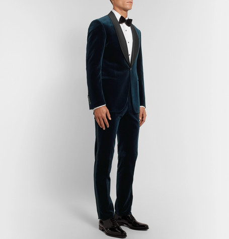 Navy Slim Fit Satin Trimmed Cotton Velvet Tuxedo by Polo Ralph Lauren