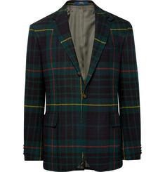 폴로 랄프로렌 Polo Ralph Lauren Morgan Slim-Fit Nubuck-Trimmed Checked Wool and Alpaca-Blend Blazer,Green