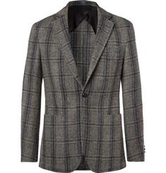 폴로 랄프로렌 Polo Ralph Lauren Grey Morgan Slim-Fit Unstructured Suede-Trimmed Checked Wool Blazer,Gray