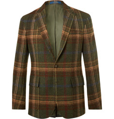 Polo Ralph Lauren Morgan Slim-Fit Suede-Trimmed Checked Wool Blazer