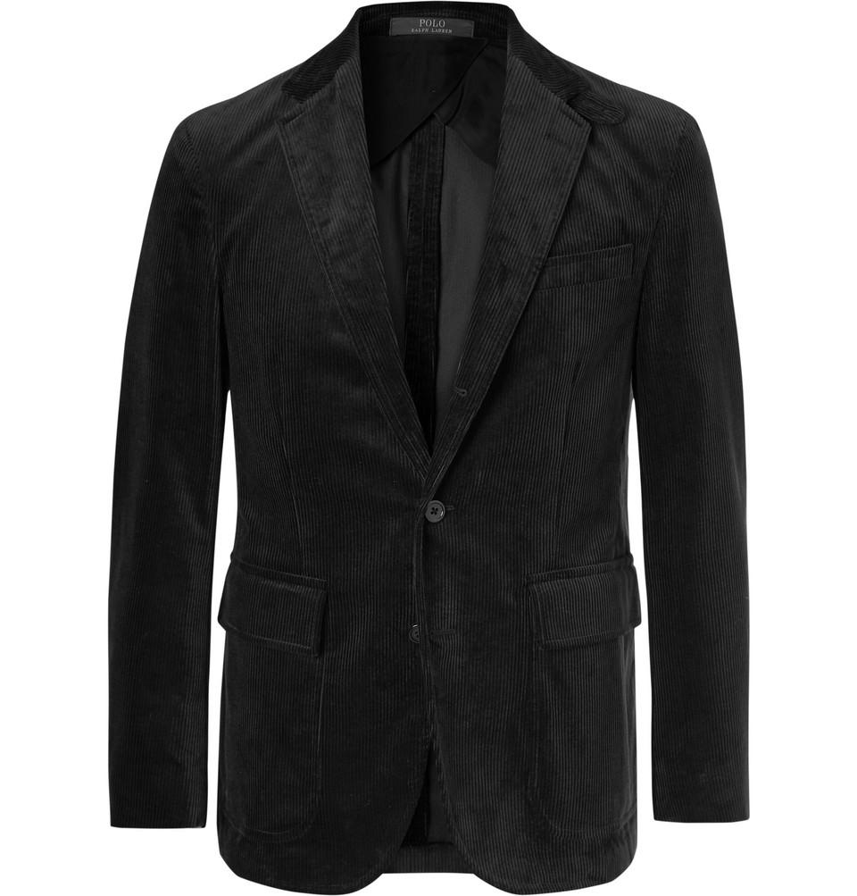 Billede af Black Morgan Slim-fit Unstructured Cotton-corduroy Blazer - Black