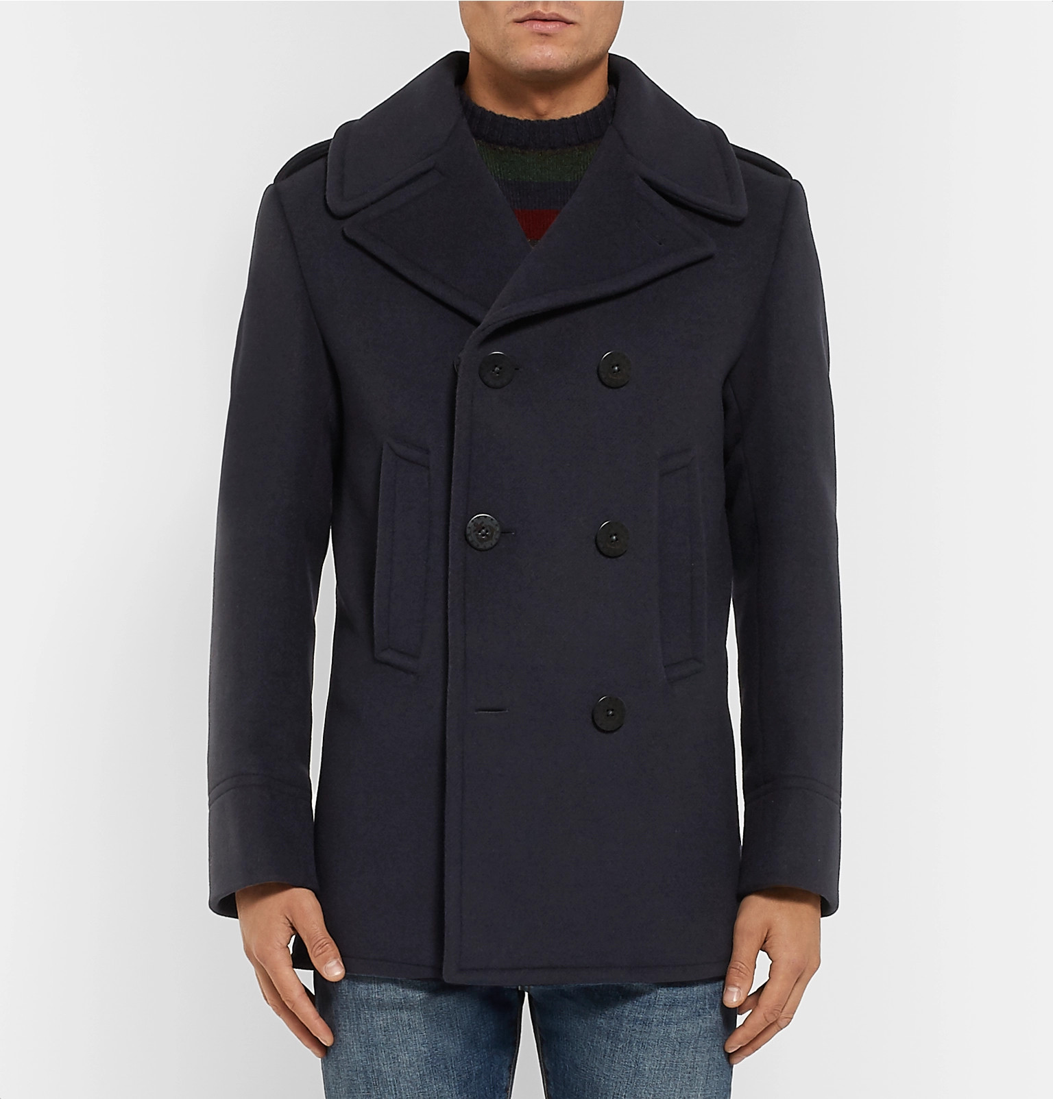 Felt Polo Wool Peacoat Double Lauren Breasted Ralph Blend FwYvFgq