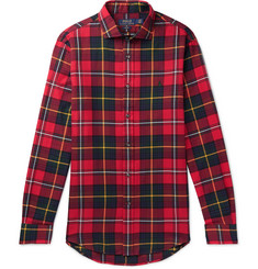 폴로 랄프로렌 셔츠 Polo Ralph Lauren Slim-Fit Checked Brushed-Cotton Shirt,Red