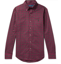 폴로 랄프로렌 셔츠 Polo Ralph Lauren Slim-Fit Button-Down Collar Checked Brushed-Cotton Shirt,Red