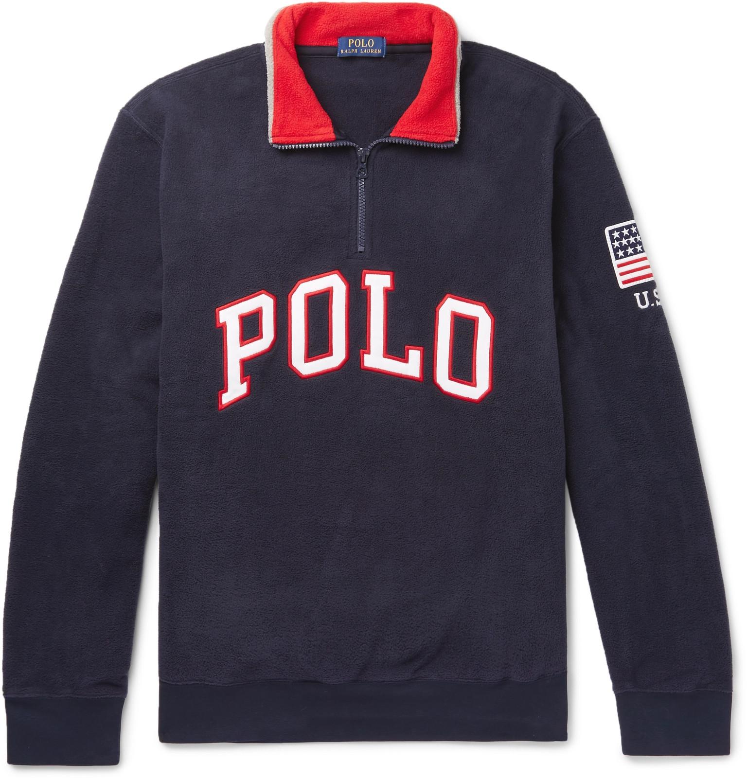 Polo Ralph Lauren - Logo-Appliquéd Fleece Half-Zip Sweatshirt 5e3ebe50ed6