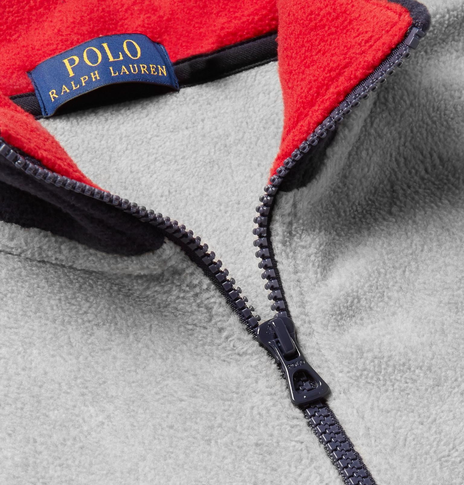 Laurenlogo Appliquéd Half Sweatshirt Ralph Zip Polo Fleece Bqw7x5