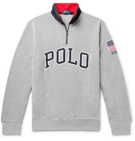 Polo Ralph Lauren Logo Appliqued Fleece Half Zip Sweatshirt