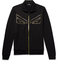 Fendi Appliquéd Fleece-Back Jersey Zip-Up Sweatshirt