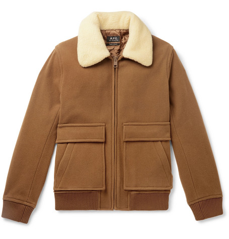 Bronze Faux Shearling Trimmed Boiled Wool Blend Bomber Jacket by A.P.C.