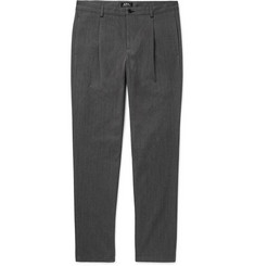 A.P.C. Florian Tapered Pleated Herringbone Cotton and Wool-Blend Trousers